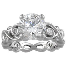 Contemporary Infinity Engagement Ring with Diamonds - top view