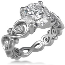 Contemporary Infinity Engagement Ring with Diamonds