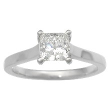 Modern Cathedral Prong Engagement Ring with Firemark Princess Cut Diamond - top view
