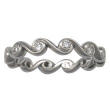 Diamond Swirl Wedding Band - top view