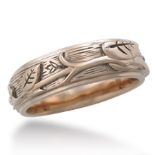 Branch & Leaf Carved Relief Wedding Band