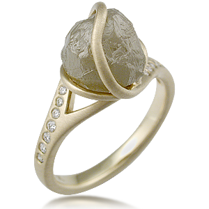 Natura Roughl Diamond Ball in Engagement Ring