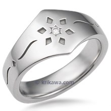 Snowflake Diamond Wedding Band