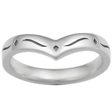 Snowflake Contoured Wedding Band - top view