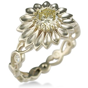 Daisy Delicate Leaf Engagement Ring