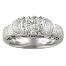 Mokume Curls Three Stone Engagement Ring - top view