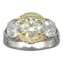 Three Stone Pave Engagement Ring of Light - top view