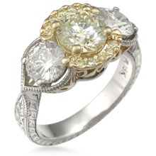 Three Stone Pave Engagement Ring of Light