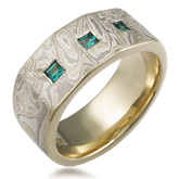 Mokume Diamond Wedding Band