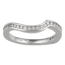 Diamond Channel Contoured Wedding Band - top view