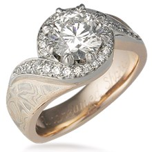 Pave Swirl Mokume Engagement Ring