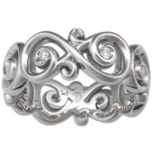 Ornate Infinity Wedding Band with Diamonds, Wide - top view