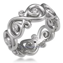 Ornate Infinity Wedding Band with Diamonds, Wide