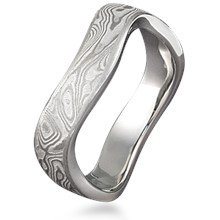 Wavy Mokume Wedding Band