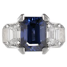 Three Stone Juicy Liqueur Engagement Ring - top view