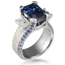 Three Stone Juicy Liqueur Engagement Ring