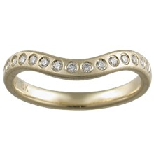 Diamond Orbit Contoured Wedding Band - top view