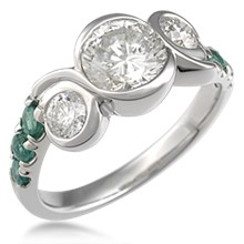 Swirl Three Stone Engagement Ring