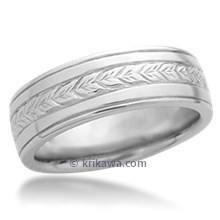 Hand Engraved Wheat Wedding Band with Rails