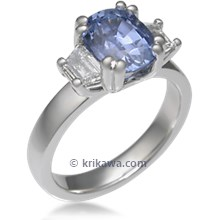 Three Stone Double Prong Engagement Ring