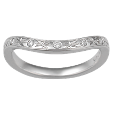 Hand Engraved Contoured Diamond Wedding Band - top view