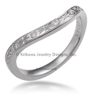 Hand Engraved Contoured Diamond Wedding Band