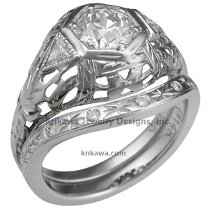 Hand Engraved Contoured Wedding Band with an Engagement Ring
