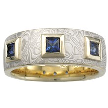 Mokume Prince Crown Wedding Band - top view