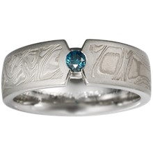 Mokume Compass Diamond Wedding Band - top view