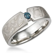 Mokume Compass Diamond Wedding Band