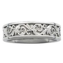 Western Floral Eternity Symbol Wedding Band - top view