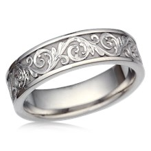 Western Floral Eternity Symbol Wedding Band