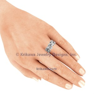 Scattered Bezel Diamond Wedding Band