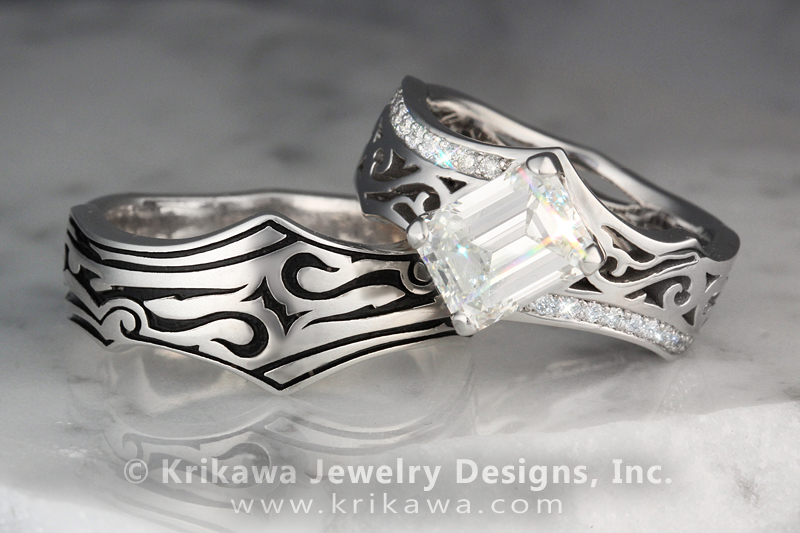 Tribal Pave Engagement Ring with Contoured Wedding Band