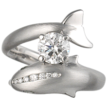 Dolphin Engagement Ring - top view