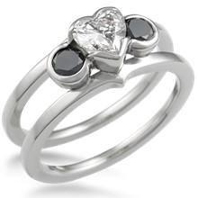 Modern Scaffolding Three Stone Engagement Ring