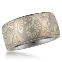 Mokume Framed Symbol Wedding Band