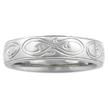 Hand Engraved Ornate Infinity Wedding Band - top view