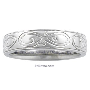 Hand Engraved Ornate Infinity Wedding Band
