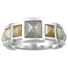 Pyramid Diamond Men's Ring - top view