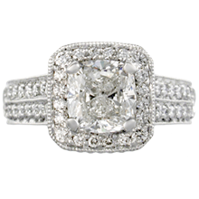 Double Pave Engagement Ring - top view