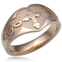 Large Cross and Musical Symbol Wedding Band