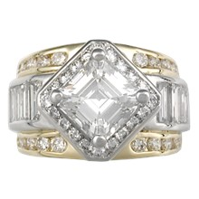 Metropolis Diamond Accented Engagement Ring - top view