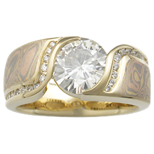 Mokume Double Wave Engagement Ring - top view