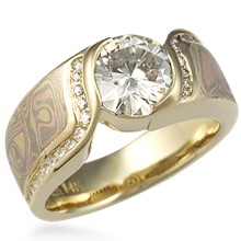 Mokume Double Wave Engagement Ring