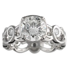 Delicate Leaf Engagement Ring - top view