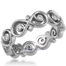 Ornate Infinity Wedding Band with Diamonds, 5mm