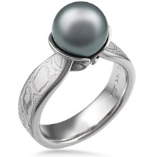 Mokume Pearl and Shell Engagement Ring