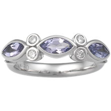 Three Marquise Anniversary Ring - top view