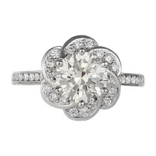 Flower Halo Knot Engagement Ring - top view